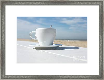 Framed Print featuring the photograph Coffee On The Beach by Patricia Hofmeester