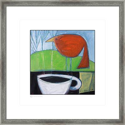 Coffee With Red Bird Framed Print
