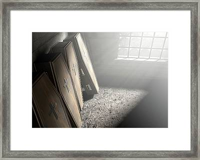 Coffin Row In A Room Framed Print by Allan Swart