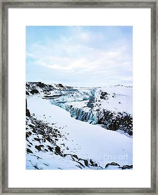 Cold Winter Day At Gullfoss, Iceland Framed Print