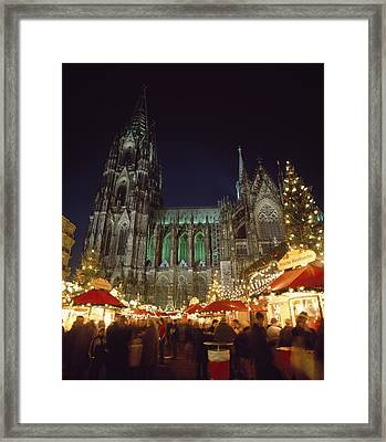 Cologne Cathedral And Christmas Market Framed Print