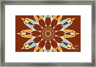 Colorful Abstract Star On Brown Background Framed Print by Pablo Franchi