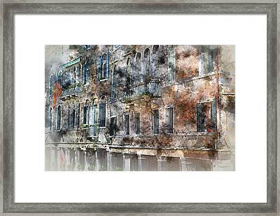 Colorful Buildings In Venice Italy Framed Print by Brandon Bourdages