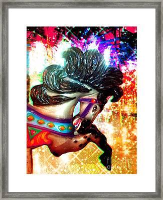 Colorful Carousel Horse Framed Print