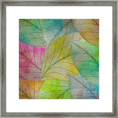Framed Print featuring the digital art Colorful Leaves by Klara Acel