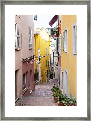 Colorful Old Street In Villefranche-sur-mer Framed Print by Elena Elisseeva