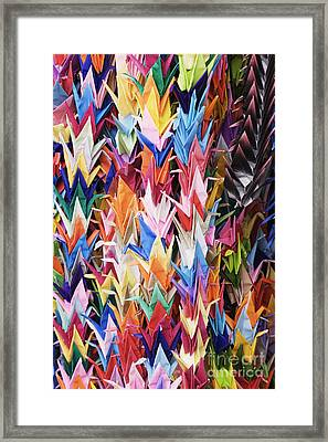 Colorful Origami Cranes Framed Print by Jeremy Woodhouse