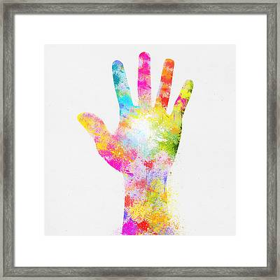 Colorful Painting Of Hand Framed Print