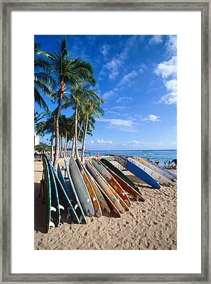 Colorful Surfboards On Waikiki Beach Framed Print by George Oze