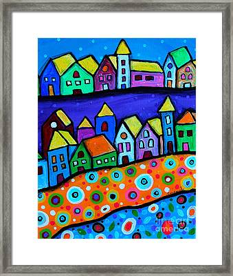 Colorful Town Framed Print by Pristine Cartera Turkus