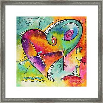 Colorful Whimsical Pop Art Style Heart Painting Unique Artwork By Megan Duncanson Framed Print