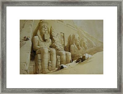 Colossal Figures In Front Of The Great Temple Of Aboo-simbel Framed Print