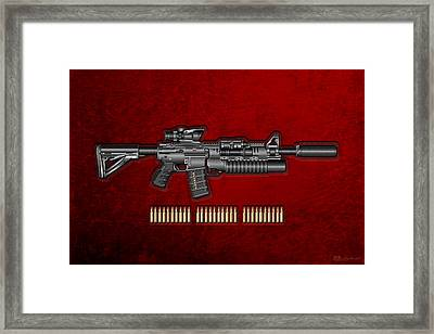 Colt  M 4 A 1  S O P M O D Carbine With 5.56 N A T O Rounds On Red Velvet  Framed Print by Serge Averbukh