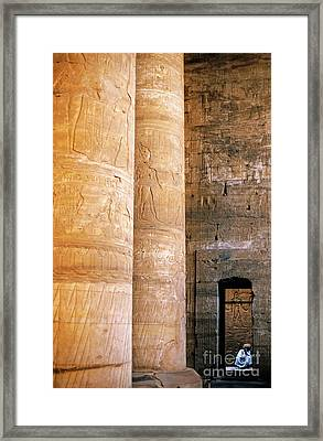Columns With Hieroglyphs Depicted Horus At The Temple Of Edfu Framed Print by Sami Sarkis