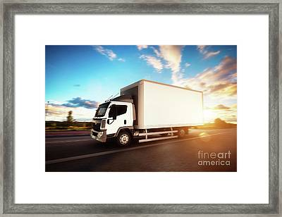 Commercial Cargo Delivery Truck With Blank White Trailer Driving On Highway. Framed Print by Michal Bednarek