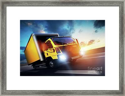 Commercial Cargo Delivery Truck With Trailer Driving On Highway At Sunset. Framed Print