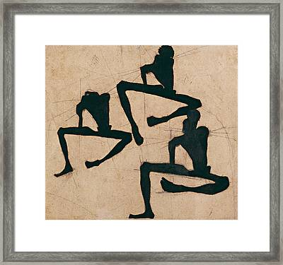 Composition With Three Male Nudes Framed Print by Egon Schiele
