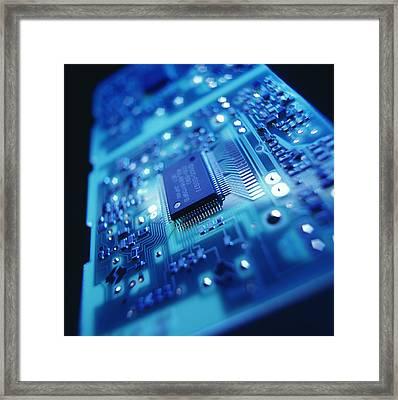 Computer Circuit Board Framed Print by Tek Image