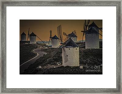 Framed Print featuring the photograph Consuegra Windmills 2 by Heiko Koehrer-Wagner