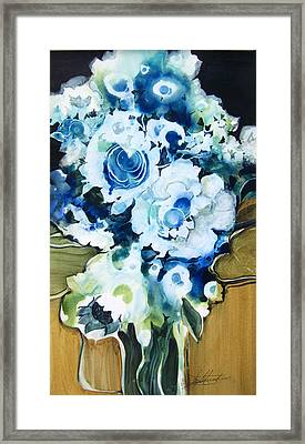 Contemporary Floral In Blue And White Framed Print by Lois Mountz