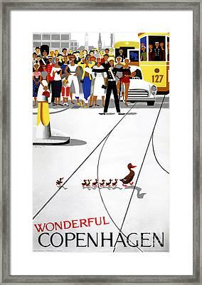 Copenhagen Vintage Travel Poster Restored Framed Print by Carsten Reisinger