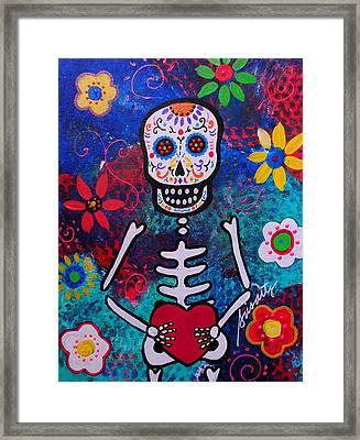 Corazon Day Of The Dead Framed Print by Pristine Cartera Turkus