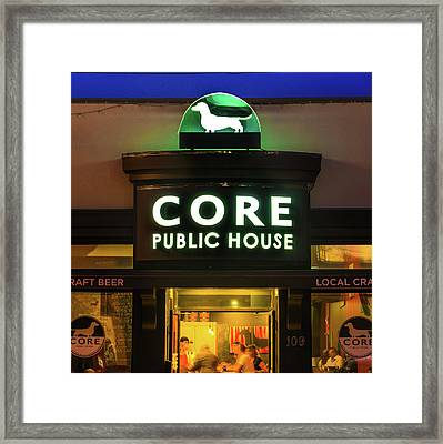 Core Public House - Downtown Bentonville - Black And White Framed Print by Gregory Ballos