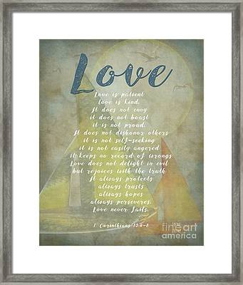 1 Corinthians 13 4-8 Love Is Patient Love Is Kind Wedding Verses. Great Gift For Men Or Home Decor. Framed Print