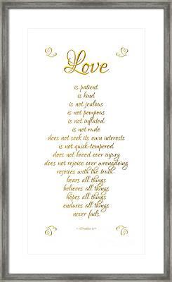1 Corinthians 13 Love Is White Background Framed Print