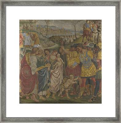 Coriolanus Persuaded By His Family To Spare Rome Framed Print by Luca Signorelli