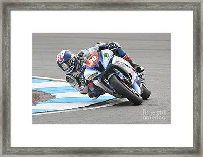 Leaning, Cornering Motorcycle Racer Framed Print by Peter Hatter