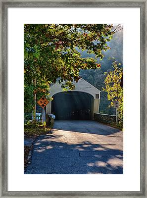 Framed Print featuring the photograph Cornish-windsor Covered Bridge by Jeff Folger