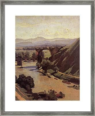 Corot The Augustan Bridge At Narni  Framed Print by Jean Baptiste Camille Corot