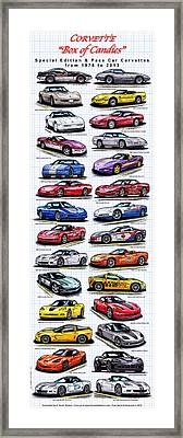 Corvette Box Of Candies - Special Edition And Indy 500 Pace Car Corvettes Framed Print