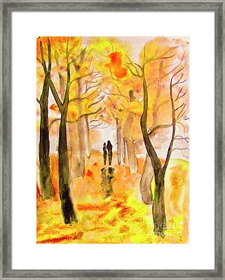 Couple On Autumn Alley, Painting Framed Print