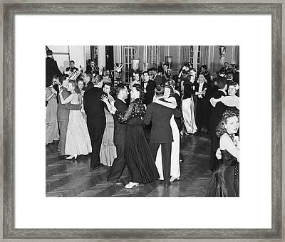 Couples Dancing To Big Band Framed Print by Underwood Archives