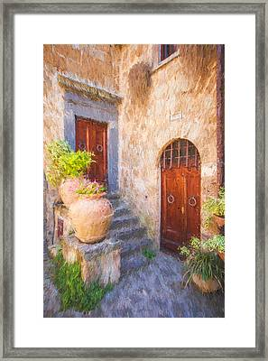 Courtyard Of Tuscany Framed Print