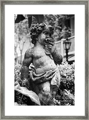 Courtyard Statue Of A Cherub French Quarter New Orleans Black And White Framed Print