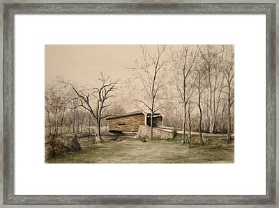 Covered Bridge In Winter Framed Print by David Bruce Michener
