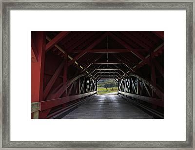 Inside A Covered Bridge Framed Print
