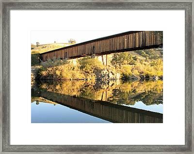 Covered Bridge Reflection Framed Print by Troy Montemayor