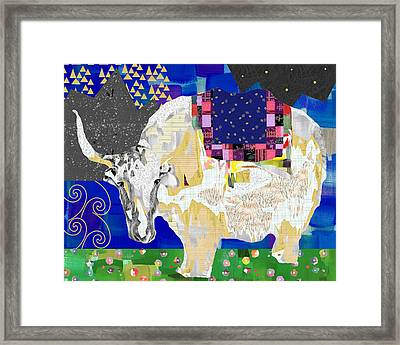 Stay Curious Cow Collage  Framed Print by Claudia Schoen