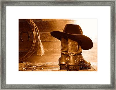 Cowboy Hat On Boots - Sepia Framed Print