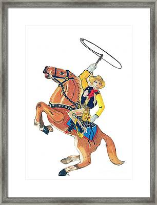 Cowboy With Lasso Framed Print