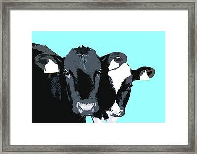 Cows - Blue Framed Print