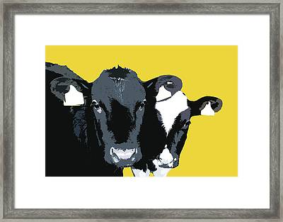 Cows - Yellow Framed Print