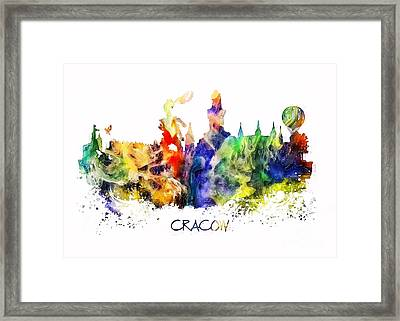 Cracow Skyline City Framed Print by Justyna JBJart