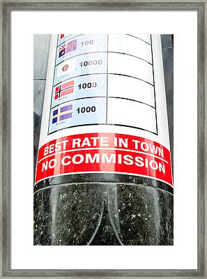 Currency Exchange Framed Print by Tom Gowanlock