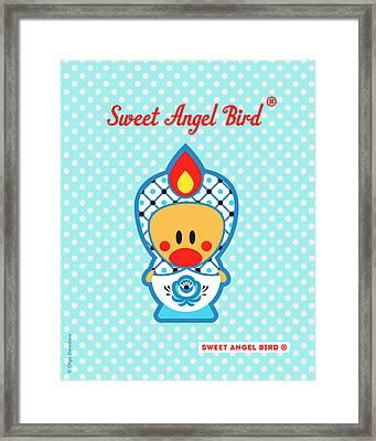 Cute Art - Blue Polka Dot Folk Art Sweet Angel Bird In A Nesting Doll Costume Wall Art Framed Print