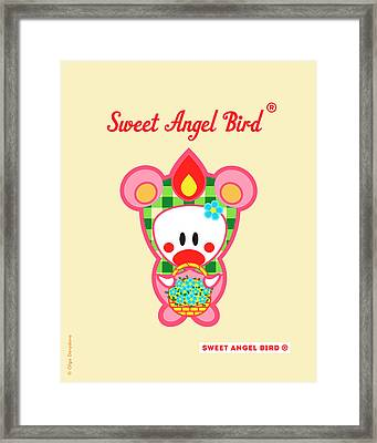 Cute Art - Sweet Angel Bird In A Bear Costume Holding A Basket Of Little Blue Flowers Wall Art Print Framed Print